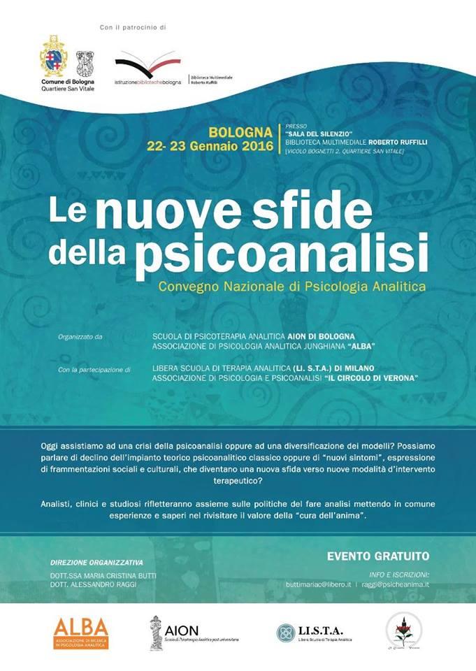 22-23 Gennaio 2016 – Bologna – Le nuove sfide della psicoanalisi – Convegno Nazionale di Psicologia Analitica