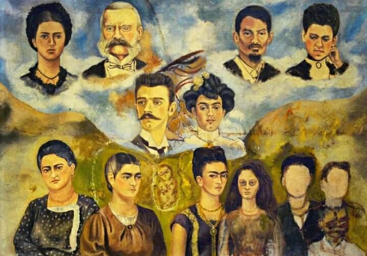 Frida Kahlo, Ritratto della famiglia di Frida (1950 - 1954) - Olio su fibra dura, 41 x 59 cm Città del Messico, Museo Frida Kahlo, Mexico