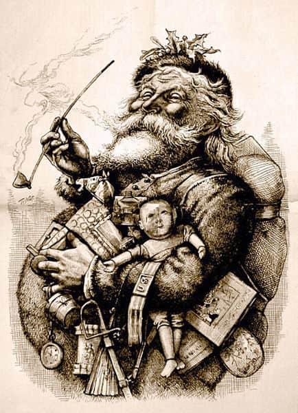 Antica illustrazione datata 1881. L'autore è Thomas Nast che, insieme a Clement Clarke Moore, ha contribuito a creare la moderna immagine di Babbo Natale